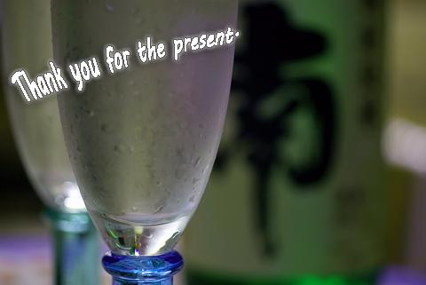 グラスに日本酒